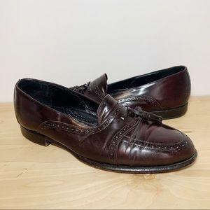 Vintage Leather Wing Tip Loafers Tassels